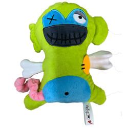 VA-17941 Vadigran Peluche de mono asustadizo con hueso de 17,5 cm. para perros. Peluche pour chien