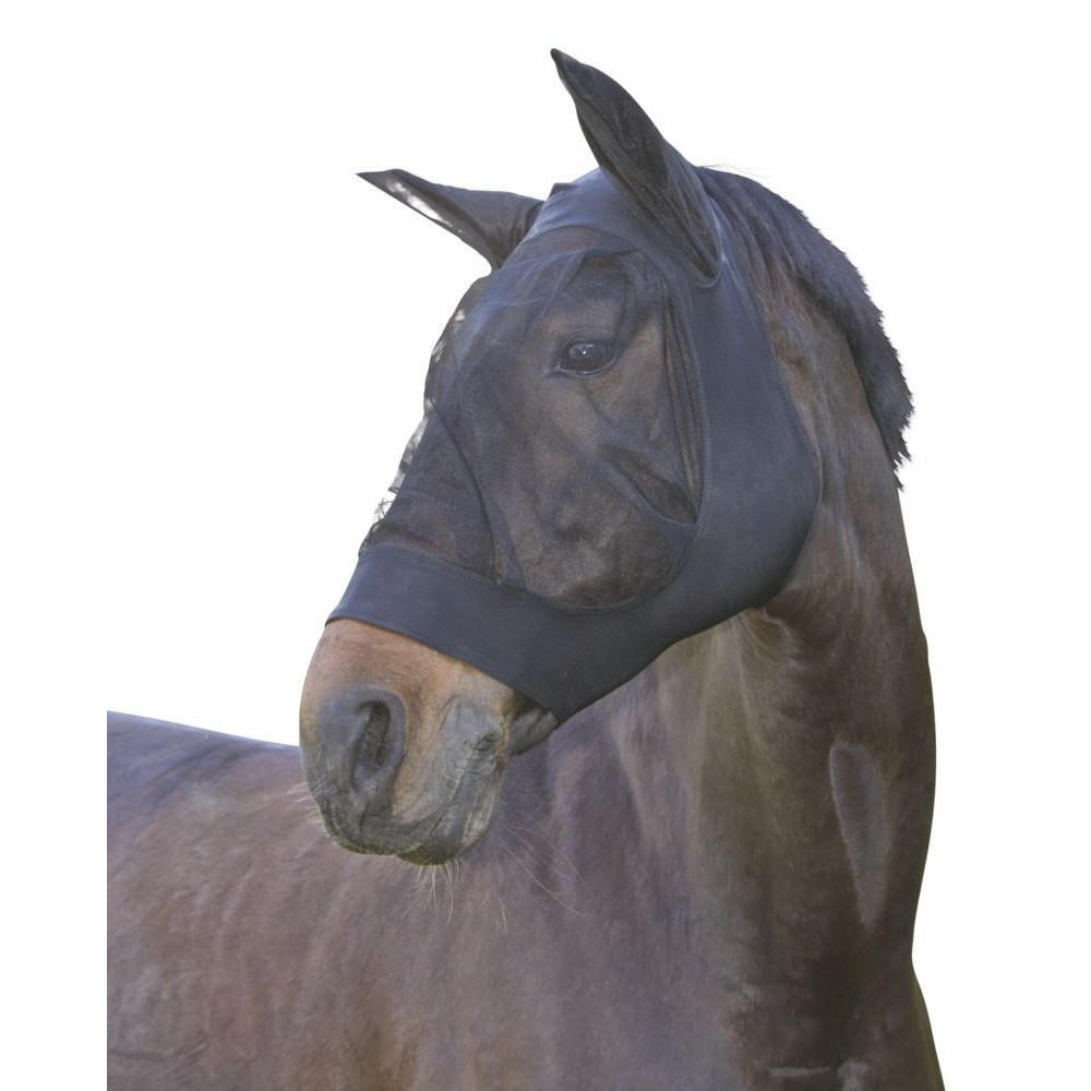 kerbl FinoStretch Fly Mask Black. cob. size for horses horse care