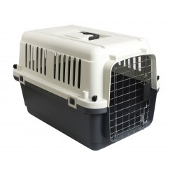 Flamingo FL-513771 Dog carrier, Nomad, grey and black color, size S 40 by 61 and 41 cm Transport cage