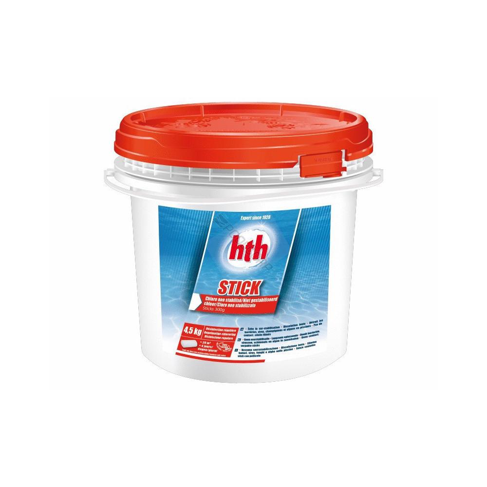 HTH Stick- Hypopchlorite - Chlore 300 gr - Pot de 4,5 Kg Produit de traitement