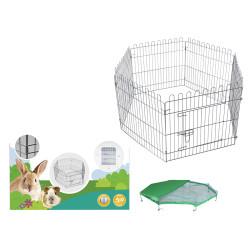 Zeshoekige box met net 60 x 60 cm . voor puppy en konijn. Vadigran VA-18019 Enclos pour chien