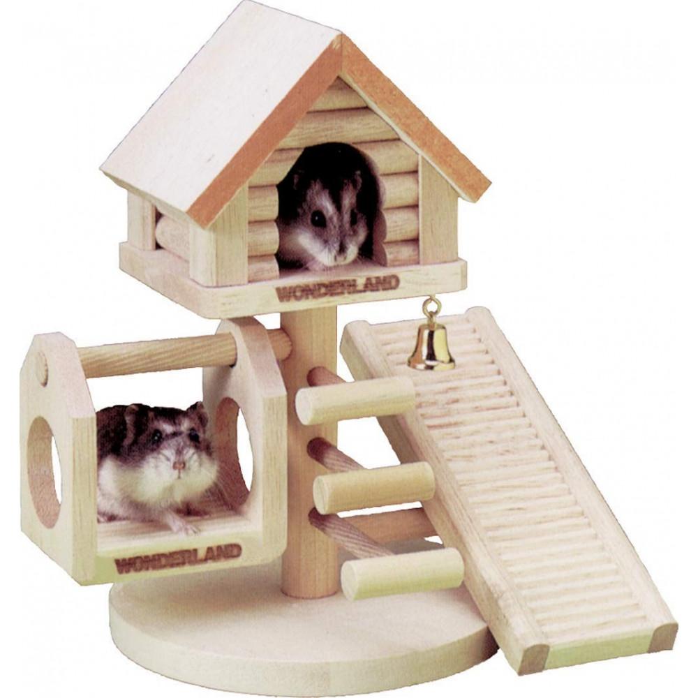 FL-84010 Flamingo Maisons Wonderland en bois pour Rongeur 21 x 22 x 16 cm Juegos, juguetes, actividades