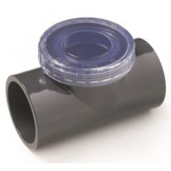 """SO-CARBT50 Plimat Válvula de retención giratoria de ø 50 mm en forma de """"T"""" con tapón de inspección transparente. aleta"""