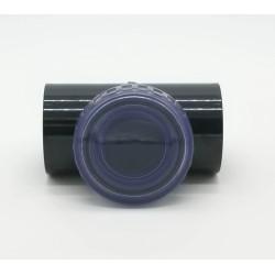 """Clapet à battant ø 50 mm en """"T"""" avec bouchon de visite transparent. clapet  Plimat SO-CARBT50"""