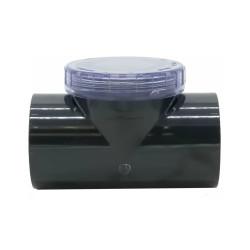 "Plimat SO-CARBT50 Swing check valve ø 50 mm ""T"" shaped with transparent inspection plug. clapet PVC"