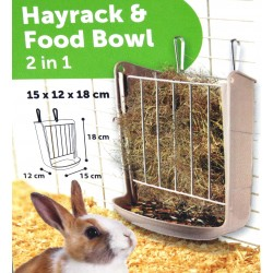 Flamingo FL-210140 Hay and bowl rack for rodents 15 X 18 X 12 CM for rabbits Accessory