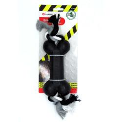 FL-518081 Flamingo Gladiador de goma con mancuerna y cuerda 18 cm para perro Jeux