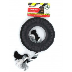 Flamingo Pet Products gladiator rubber toy tire and rope 20 cm black for dog Jeux cordes pour chien