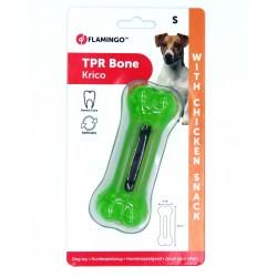 Jouet pour chien os avec friandise saveur poulet 12 cm vert Jeux a récompense friandise  Flamingo FL-518660