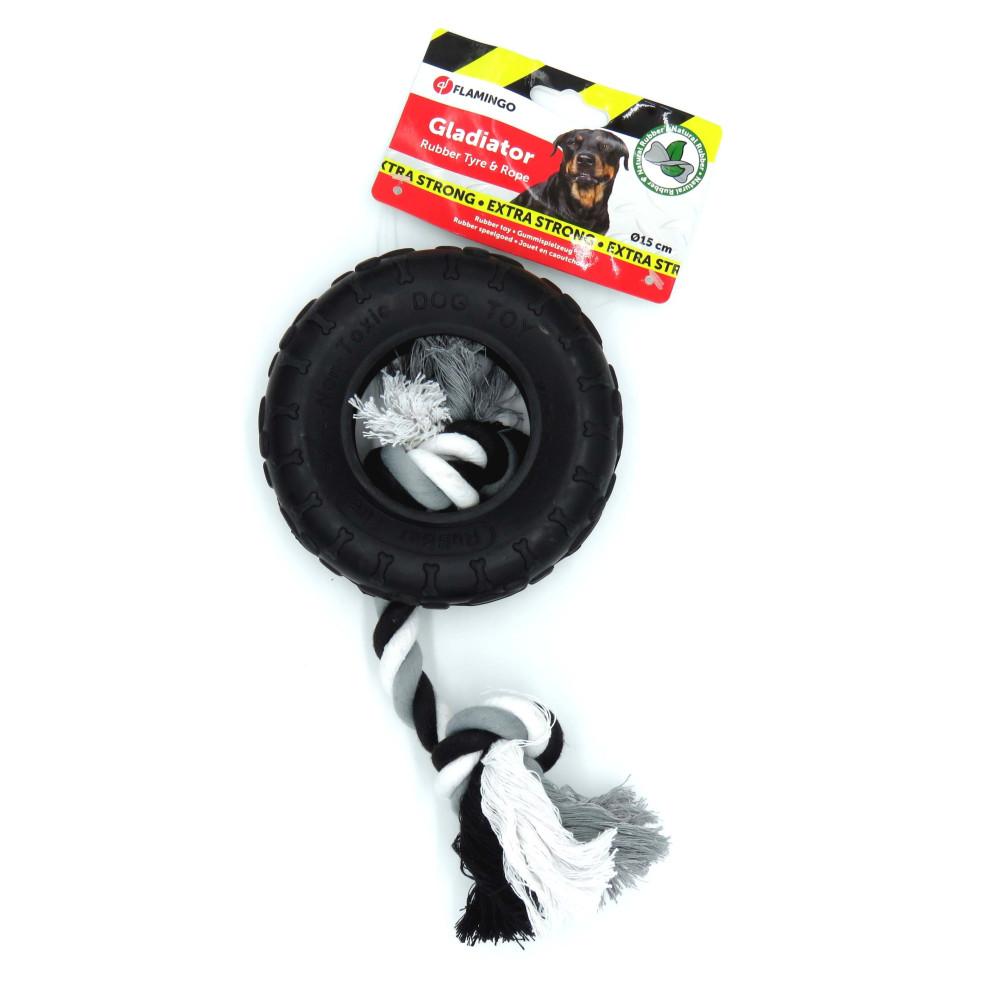 jouet caoutchouc gladiator pneu et corde 15 cm noir pour chien Jouet Flamingo FL-518079