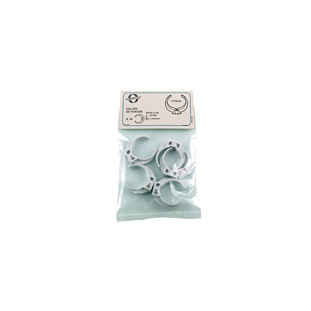 collier lyre pvc ø 40 blanc x 5 pces Raccord PVC évacuation  Interplast IN-SRBFIX040BL5P