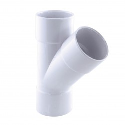 Interplast IN-SRBCLF45040B Female breeches ø 40 mm, at 45°, white colour. PVC drainage connection