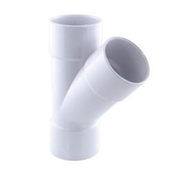 Interplast Reithose ø 40 mm, bei 45°, weiße Farbe. IN-SRBCLF45040B PVC-Abflussanschluss