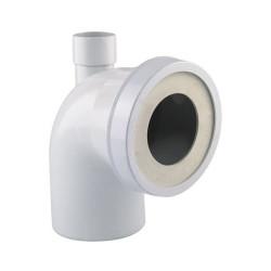 Interplast Pipe sanitaire courte coude male ø100 mm avec piquage ø 40 mm. Plomberie