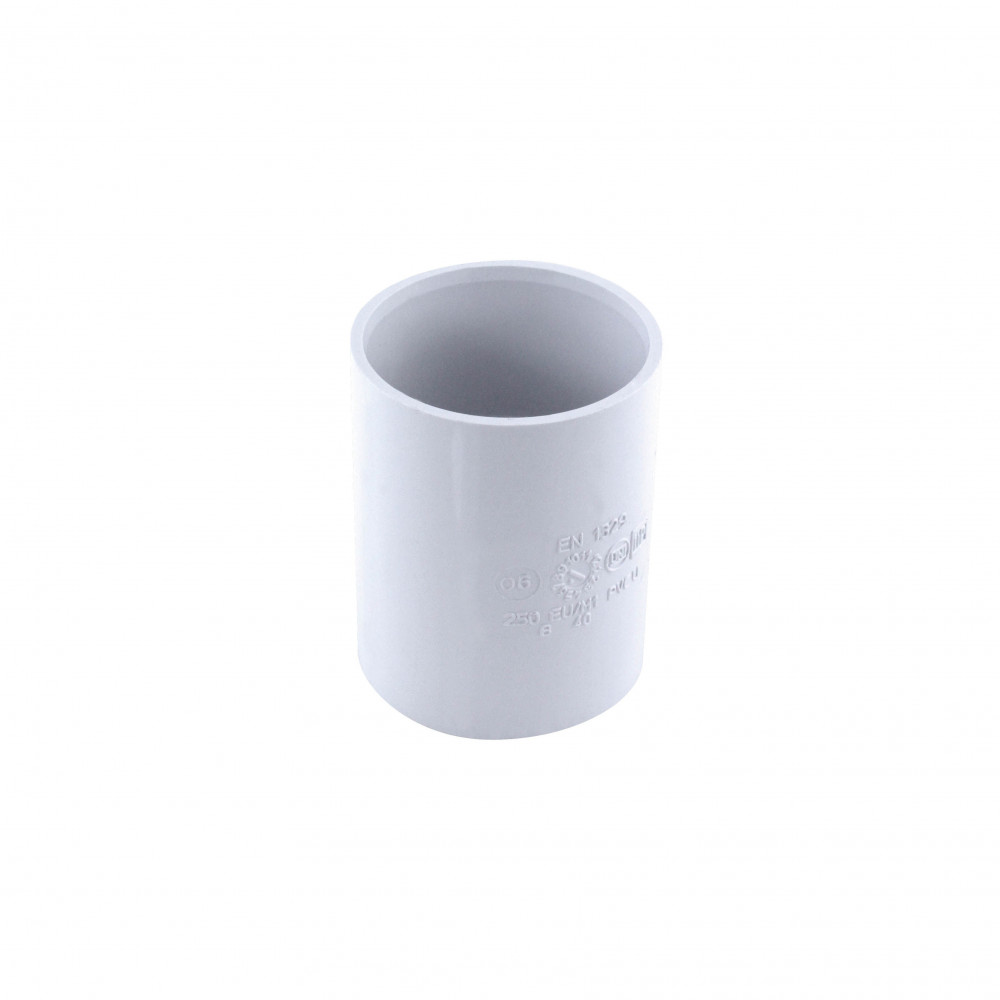 Manchon pvc à butée ff ø 40 mm blanc Raccord PVC évacuation  Interplast IN-SRBMAN040B