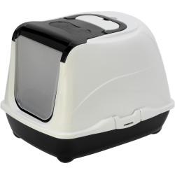 Maison de toilette Loki noir 38 x 50 x 37 cm pour chat couleur noir et blanche Maison de toilette Flamingo FL-560732