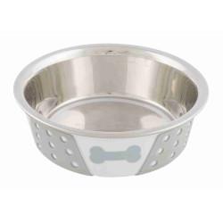 Trixie 400 ml, Écuelle en acier inox avec silicone et motif, pour chien ou chat, ø 14 cm. TR-25255 Gamelle, écuelle