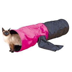 Tunnel de jeu ø 30 × 115 cm pour chat et chiot coloris noir et rose Jeux Trixie TR-4302