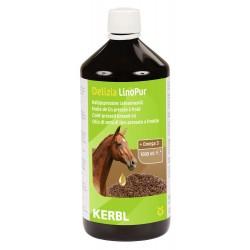 kerbl Huile de lin LinoPur 1L - Complément Alimentaire pour Cheval soins chevaux