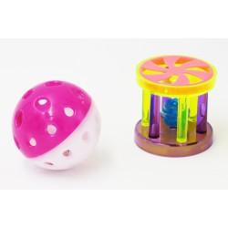 lot 2 balles et 2 rouleaux, plastique pour chat Jeux Trixie TR-4099-x2