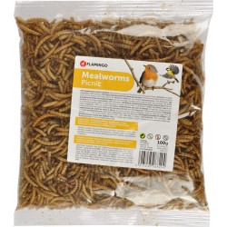 Flamingo Pet Products PickNick dried mealworms . 100 gr. bag for birds. nourriture a base Insecte