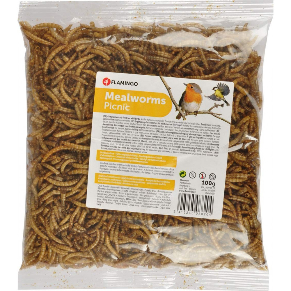 Flamingo FL-2010012 Picnick dried flour worms 100 gr Food and drink
