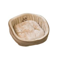 Panier luxe 45 x 45 x 20 cm beige et marron pour chat Couchage Flamingo FL-504507