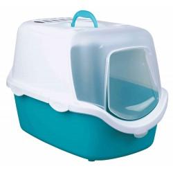Trixie Vico Open Top cat toilet, turquoise and white. Toilet house