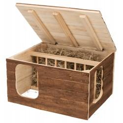 Maison Hilke avec râtelier à foin intégré pour lapin, cochon d'inde Gamelles, distributeurs Trixie TR-61803