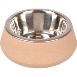 Flamingo FL-518912 470 ml.bowl with stainless steel Rimboé bowl. non-slip. taupe color. for dogs Bowl, bowl, bowl