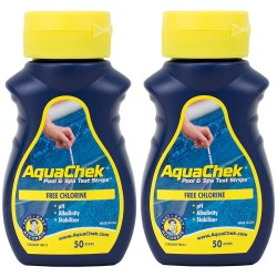 lot de 2 AquaChek Testeur de chlore pour piscine et Spa &Lot de 50 Bandelettes Analyse piscine aquachek AQC-470-0005-x02