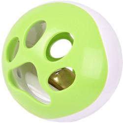 Balle a LED pour chat ø 6.4 cm avec grelot et bruit oiseau. Rango vert-blanc Jeux Flamingo FL-560768