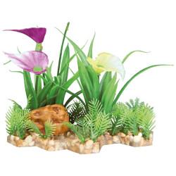 Plante plastique sur lit de gravier et résine 13cm décoration poisson Décoration et autre  Trixie TR-89301
