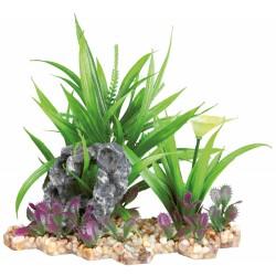 Trixie Plante plastique sur lit de gravier et résine 18 cm décoration poisson TR-89302 Décoration et autre