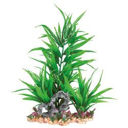 Trixie Plante plastique sur lit de gravier et résine 28 cm décoration poisson TR-89303 Décoration et autre
