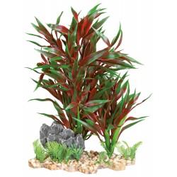 TR-89304 Trixie Planta plástica sobre lecho de grava y resina 28 cm de decoración de peces Decoración y otros