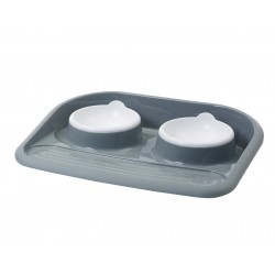 2x300 ML butler's meal tray for dog or cat Bowl, double bowl soap VA-14874