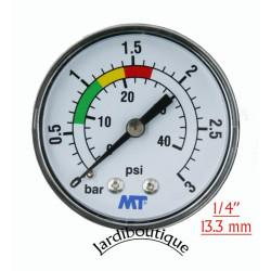 MPISA50/030 MT Manómetro MV para montaje posterior del filtro de piscina Conexión posterior rosca 1/4  Manómetro