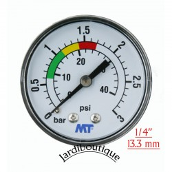 "MT pressure gauge for pool filter rear mounting rear connection 1/4"" thread MT pressure gauge MPISA50/030"