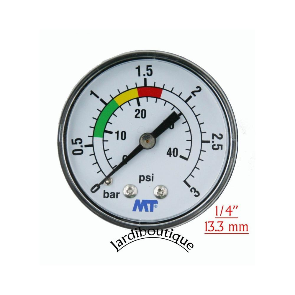 """Manomètre MT pour filtre piscine fixation arrière raccord arriéré filetage 1/4""""  Manomètre MT MPISA50/030"""