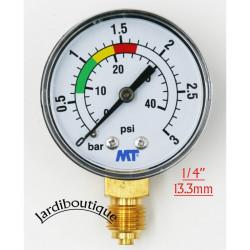 """Manomètre MT avec repère rouge et vert - ABS manomètre de filtre a sable piscine 3 bars - filetage 1/4""""  Manomètre MT MANO-MT..."""