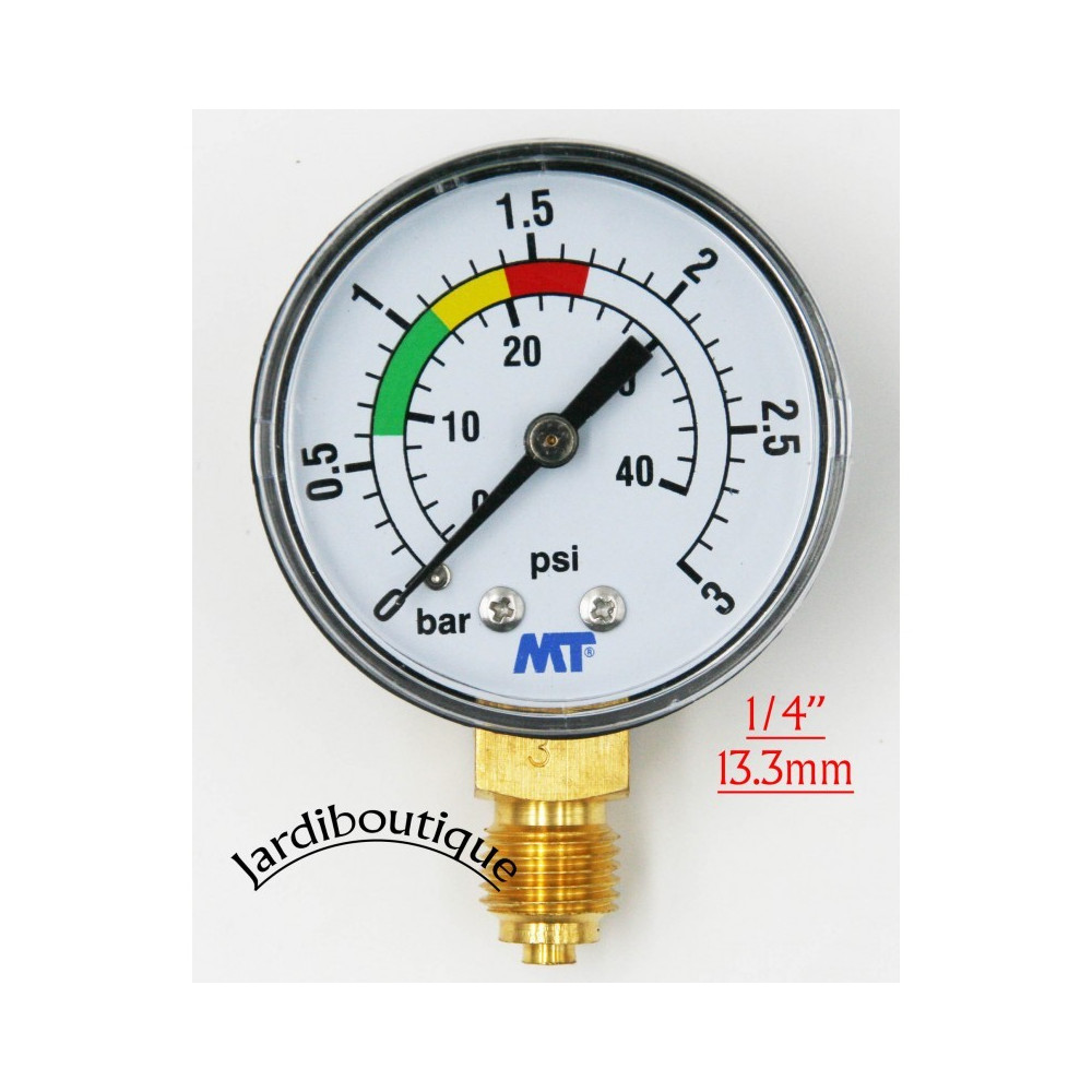 "MT MANO-MT-001 MT pressure gauge with red and green markings - ABS pool sand filter pressure gauge 3 bars - 1/4"" thread  Pres..."