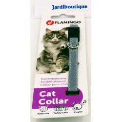 FL-28092 Flamingo 1 Cuello gris plateado reflectante para gatos collier laisse cage