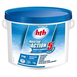 Chlore multiaction - HTH Maxitab - 5 Action Spécial liner galets 200 g. - 5 kg Produit de traitement HTH SC-AWC-500-0178