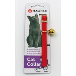 Flamingo Collana misura 32 cm x 10 mm. Collo elastico con campana. colore rosso per gatto FL-500620 collier laisse cage