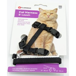 Flamingo Pet Products 1.10 meter harness and leash for cats. Black color collier laisse cage