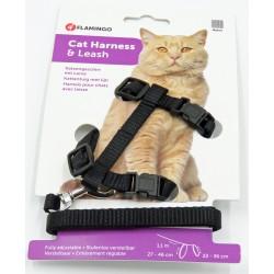 Harnais et laisse de 1.10 mètre pour chat. couleur noir FL-1031203 Flamingo Pet Products