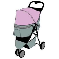 Flamingo Poussette pour chien Kiara bleu FL-517741 Poussette et trolley