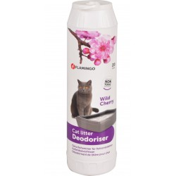 Flamingo Pet Products Deodorizer for litter box. Wild cherry fragrance. 750 g. bottle for cats. litter accessory