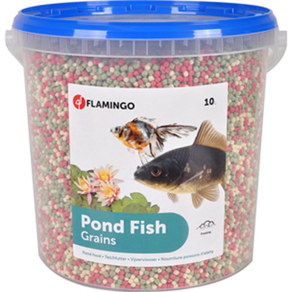 Flamingo 10 litres, Nourriture d'étang poisson, granulats seaux. FL-1030484 Nourriture